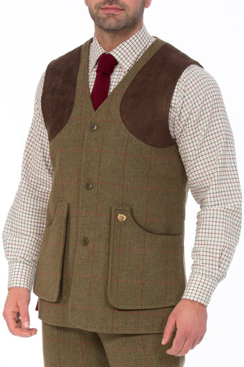 Alan Paine Mens Combrook Tweed Shooting Field Waistcoat Sage