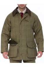 Alan Paine Mens Rutland Tweed Waterproof Shooting Coat Dark Moss