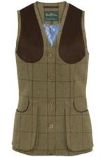 Alan Paine Womens Combrook Tweed Shooting Waistcoat - Lotus