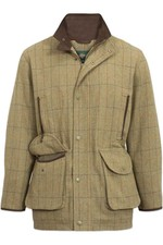 Alan Paine Mens Combrook Tweed Shooting Field Coat - Elm
