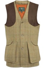 Alan Paine Mens Combrook Tweed Shooting Waistcoat - Elm