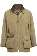 Alan Paine Mens Combrook Waterproof Tweed Shooting Coat - Elm