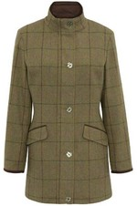 Alan Paine Womens Combrook Tweed Shooting Field Coat - Lotus