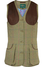 Alan Paine Womens Combrook Tweed Waistcoat Juniper